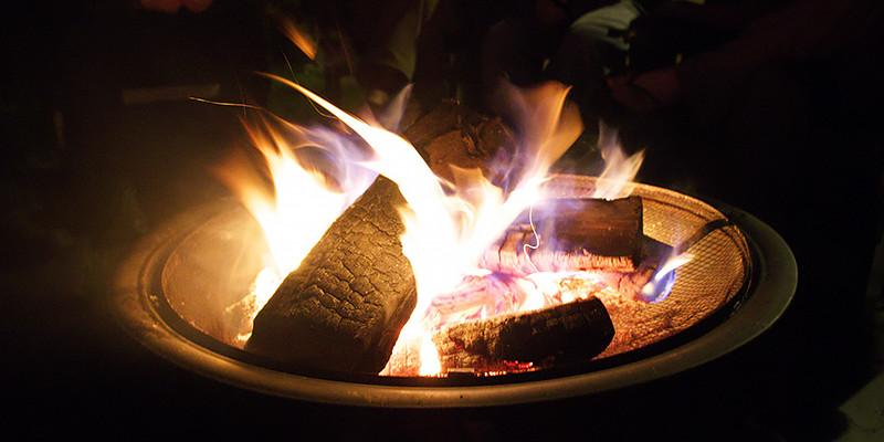 Fire burning in a fire pit