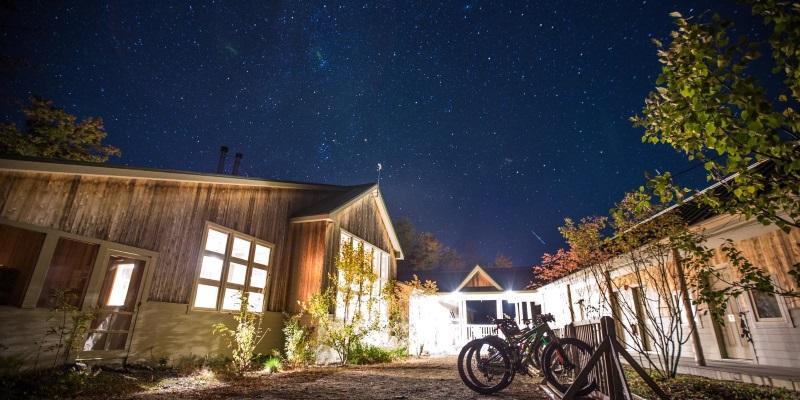 Stratton Brook Hut at night
