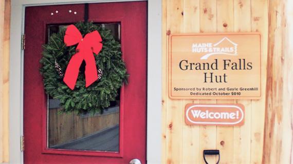 Hut doorway at Christmas